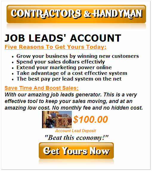 contractor and handyman work leads
